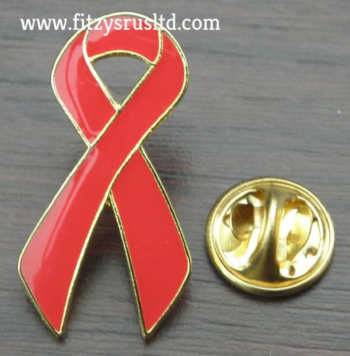 RED RIBBON LAPEL PIN BADGE AWARENESS BROOCH
